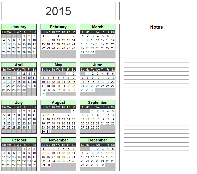 Free Excel Calendar Template   Yearly U0026 Monthly   2015, 2016, 2017 Etc.